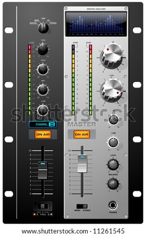 Record Studio controls on mixer board vector