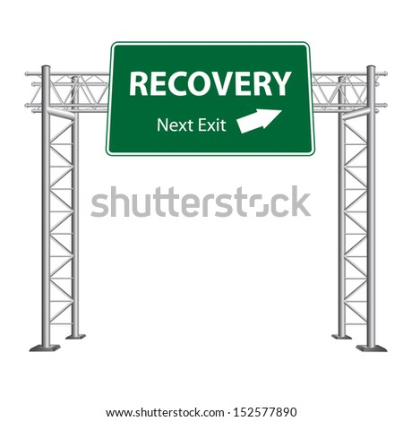 Recovery next exit highway sign on white background - stock vector