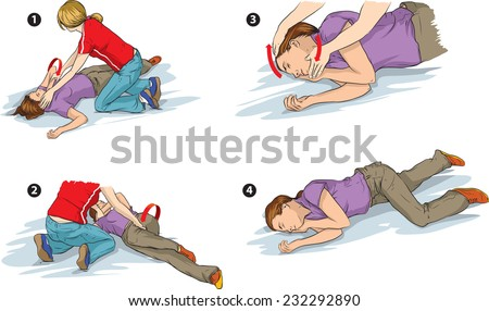 Recovery position (first aid). - stock vector