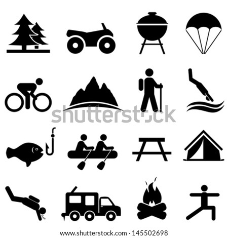 Recreation and camping icon set - stock vector