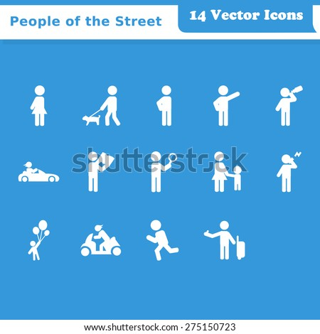 Recreation, People on the Street Vector Icons