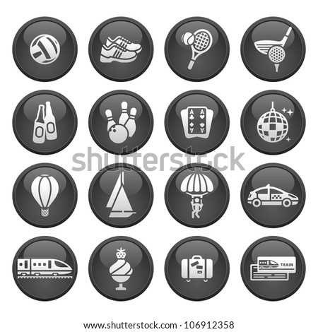 Recreation, Vacation & Travel, icons set - stock vector