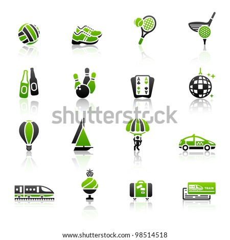 Recreation, Vacation & Travel, icons set. Sport, Tourism with reflection - stock vector