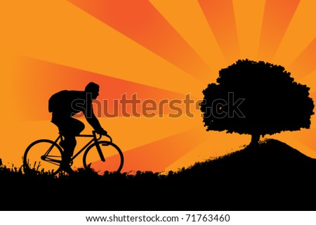 recreational cycling - stock vector