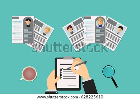 recruiter choosing resume office job post stock vector 628225610