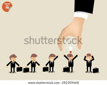 recruitment concept, business man choosing worker who has idea from group of business people. - stock vector