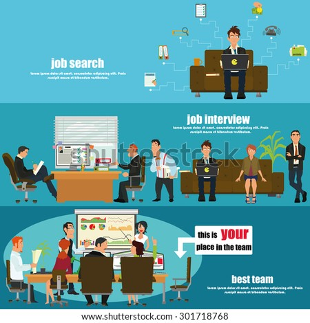 Recruitment flat banner set with job search, job interview and your place in the team. vector illustration. - stock vector