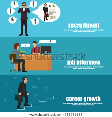 Recruitment flat banner set with recruitment, job interview and career growth. vector illustration. - stock vector