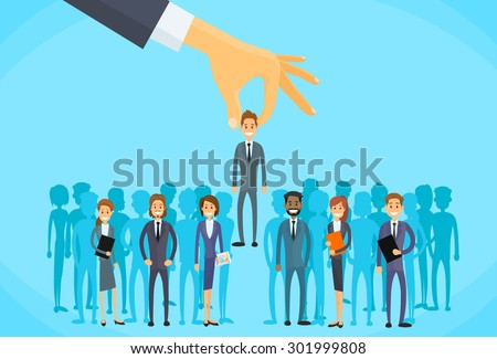 Recruitment Hand Picking Business Person Candidate People Group Flat Vector Illustration - stock vector