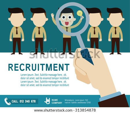 recruitment. hiring concept. choosing the talent person. Isolated on background vector  businessman cartoon. flat  icons design. graphic illustration. - stock vector
