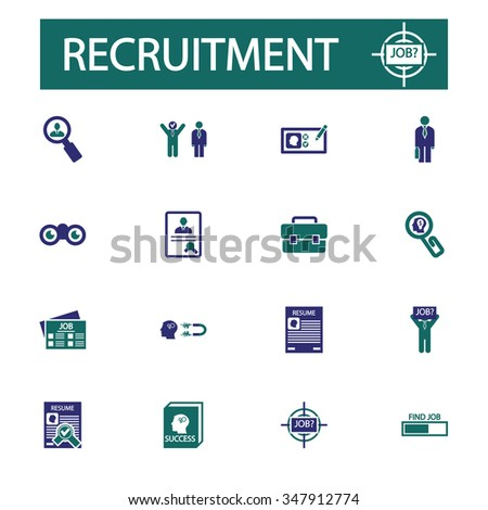 Recruitment icons. Hiring, job, human resources, career, employment, job. Vector illustration set - stock vector