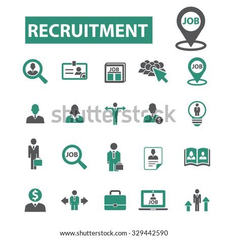 recruitment, job, CV, career, hr icons - stock vector