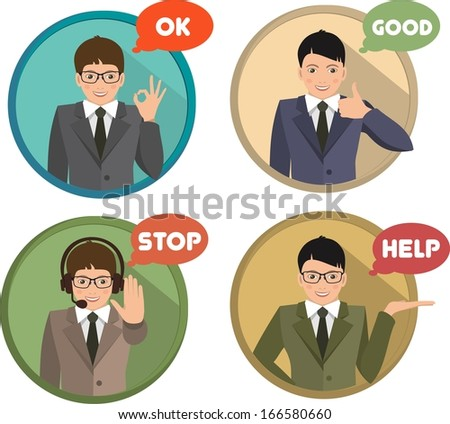 recruitment of men arranged in a circle showing different gestures above the signature  indicating the gesture - stock vector