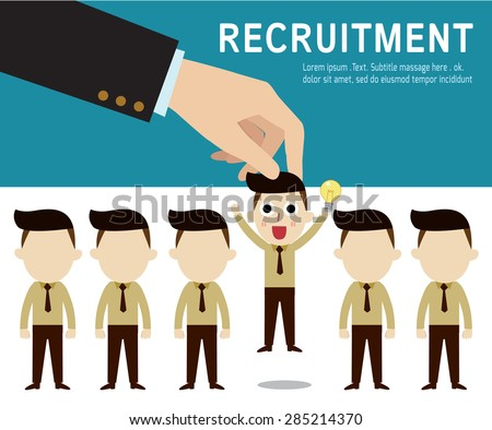 recruitment. Picking the right candidate professional . Isolated on backgroundFlat design vector illustration concept. - stock vector