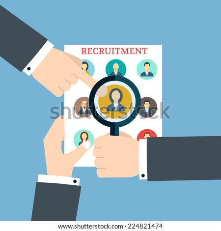 Recruitment. Searching The Profile. Human recruitment and  resource  - stock vector