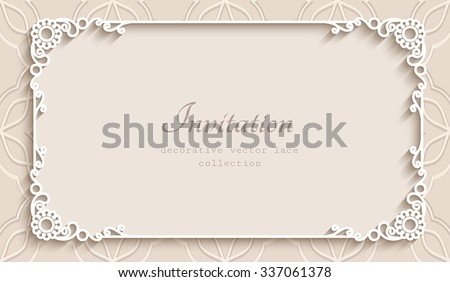 Rectangle lace frame with cutout paper decoration, vector greeting card or wedding invitation template, eps10