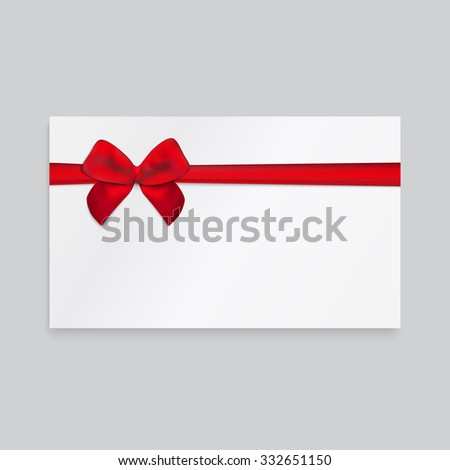 Rectangle paper card with red ribbon and tied bow. - stock vector