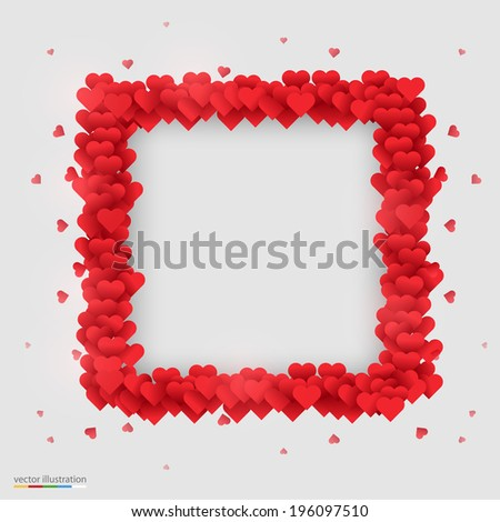 Rectangle photo frame made ??of many hearts. Vector illustration - stock vector