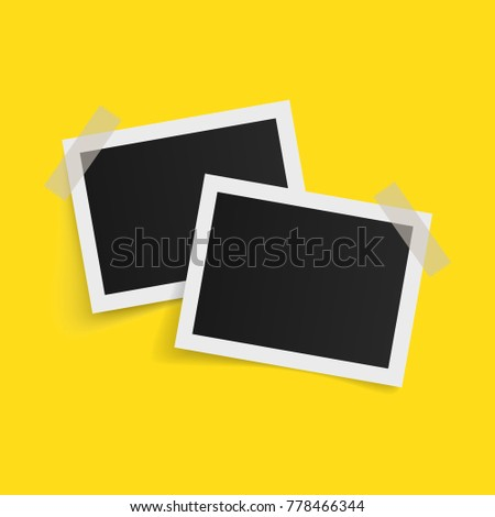 Rectangle photo frames on sticky tape on yellow background. Vector illustration.