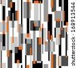 rectangles black, grey, orange seamless pattern on white - stock vector