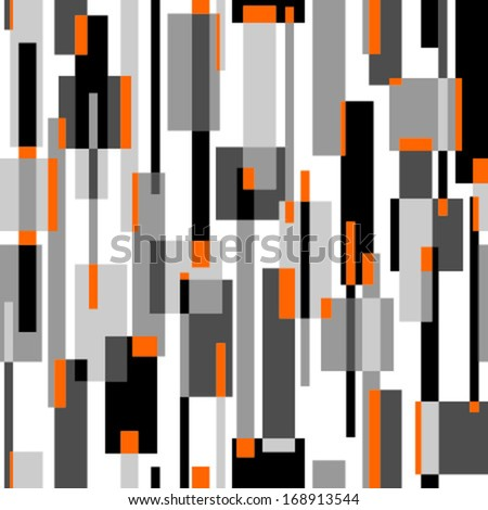 rectangles black, grey, orange seamless pattern on white