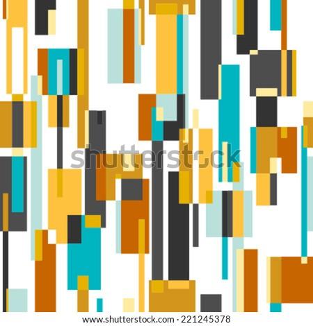 rectangles blue, grey, orange seamless pattern on white - stock vector