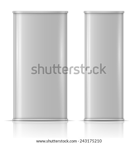 Rectanglular oil can: front and side view. Vector illustration. Packaging collection. - stock vector