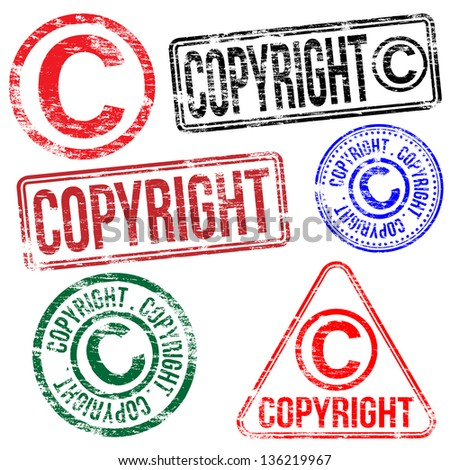 Rectangular and round copyright rubber stamp vectors