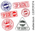 Rectangular and round top secret rubber stamp vectors  - stock photo
