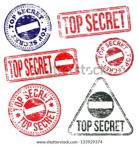 Rectangular and round top secret rubber stamp vectors - stock vector