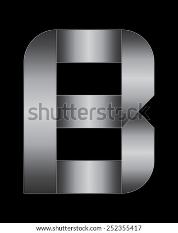 rectangular bent metal font - letter B