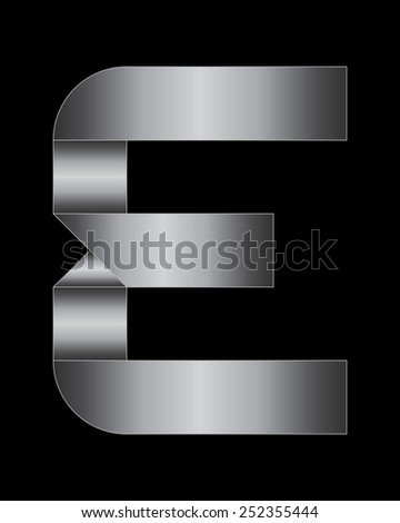 rectangular bent metal font - letter E
