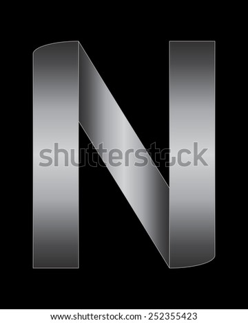 rectangular bent metal font - letter N