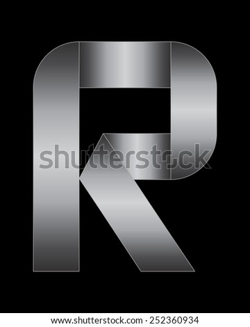 rectangular bent metal font - letter R