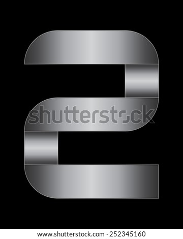 rectangular bent metal font - number 2 - stock vector
