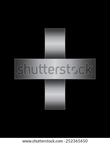 rectangular bent metal font - plus sign - stock vector