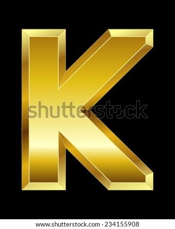 rectangular beveled golden font - letter K - stock vector