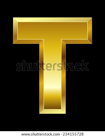 rectangular beveled golden font - letter T