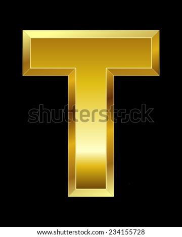 rectangular beveled golden font - letter T - stock vector
