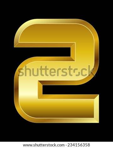rectangular beveled golden font - number 2