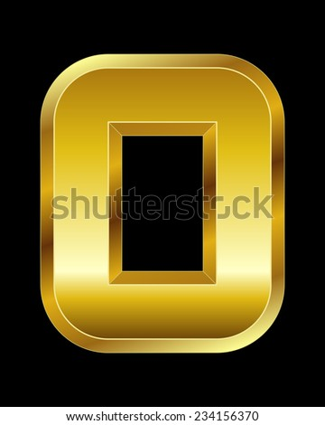 rectangular beveled golden font - number 0