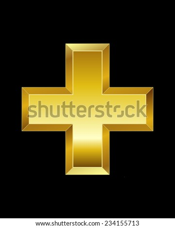 rectangular beveled golden font - plus sign