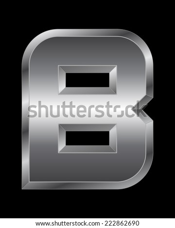 rectangular beveled metal font - letter B vector