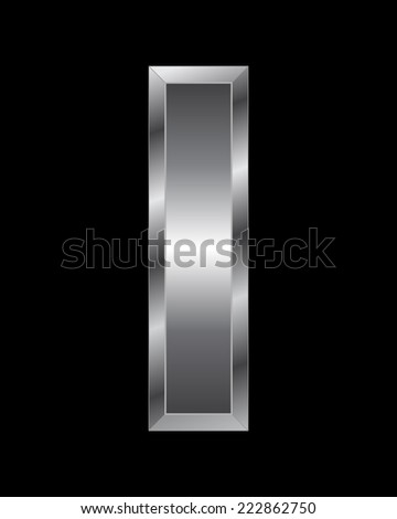 rectangular beveled metal font - letter I vector