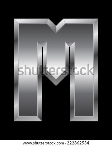 rectangular beveled metal font - letter M vector - stock vector