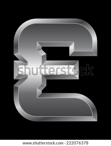 rectangular beveled metal font - pound currency symbol, vector - stock vector