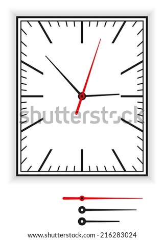 Rectangular Clock Face as part of an analog clock with black and red pointers. Illustration on white background. - stock vector