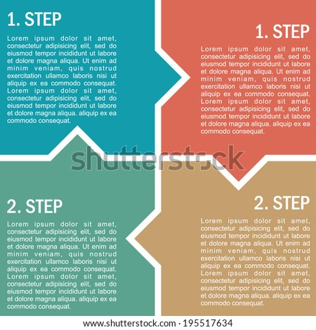 Rectangular four step info graphic illustration for business project, web or presentation.