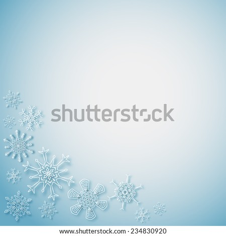 Rectangular frame with snowflakes in the corner - stock vector