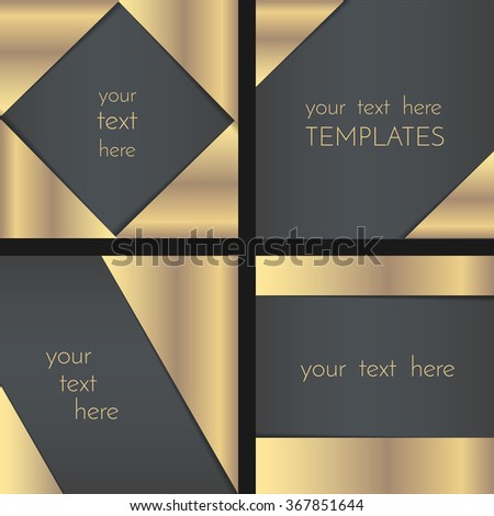 Rectangular greeting card template collection, invitation template, decorated with golden foil corners, have a space for text. - stock vector